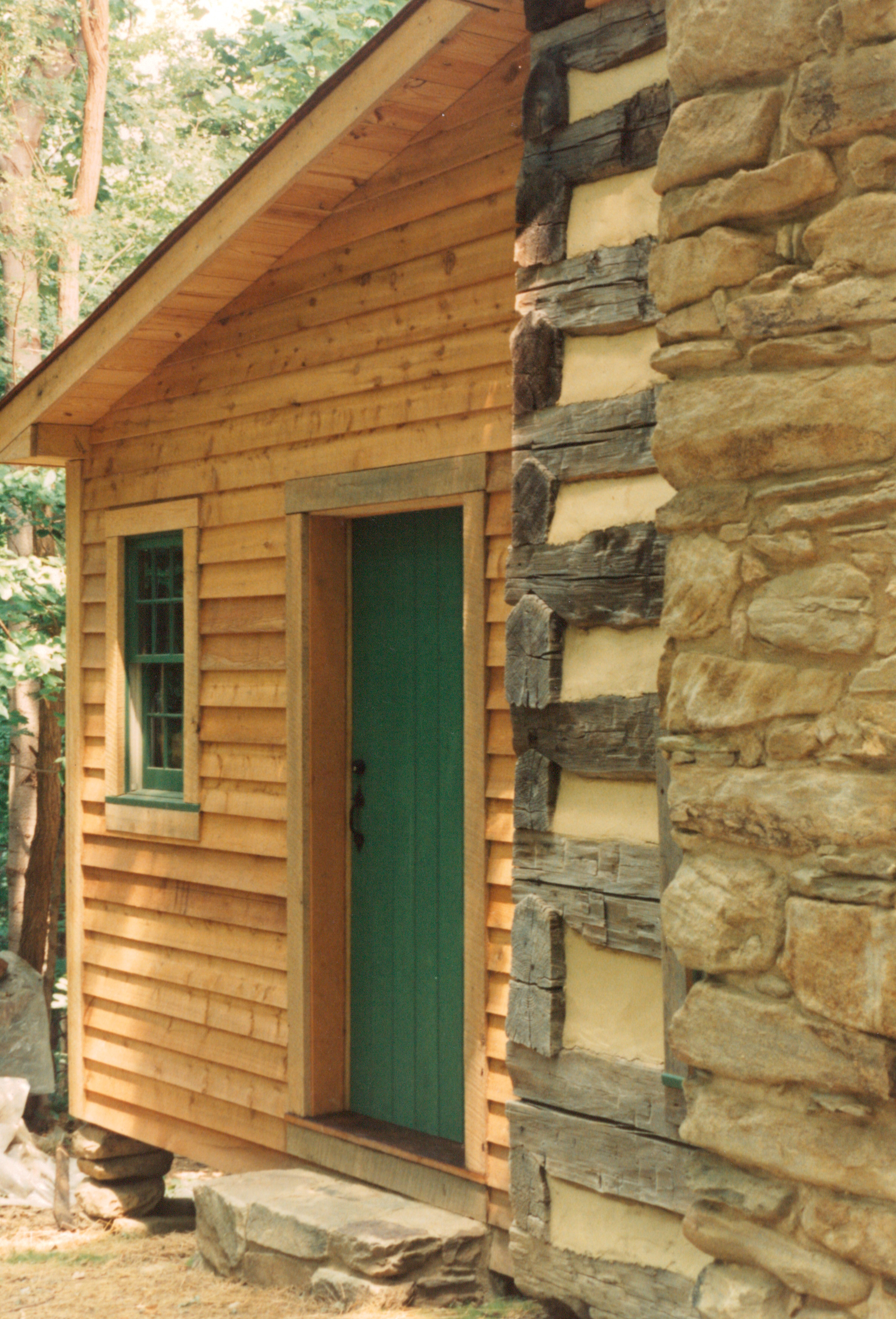 A Finished Lean To Addition On A Log Cabin Handmade