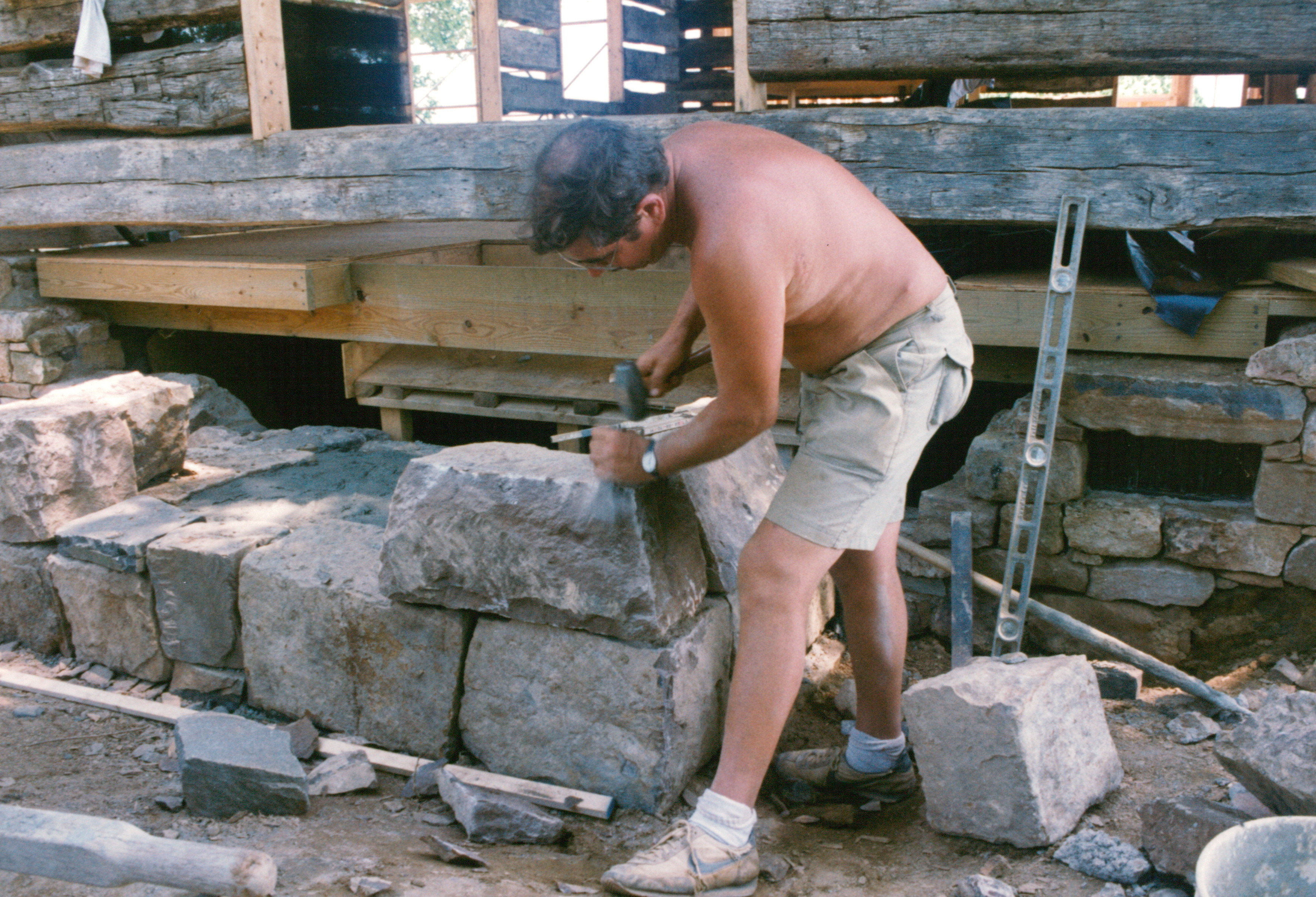 Shaping Stone With Hammer And Chisel Handmade Houses