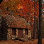 A stone cottage in Autumn
