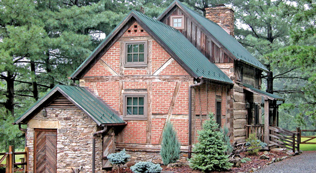 Three unique homes that make use of brick handmade for Log and stone homes