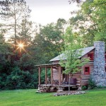 A hewn cabin at sunrise