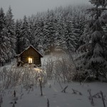 Cabin living during a snowstorm