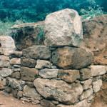 A stone retaining wall