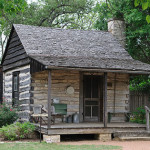 A small historic log cabin